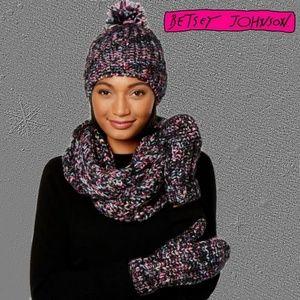 Betsey Johnson Crystal Gloves, Hat & Scarf Set
